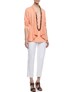 Eileen Fisher Linen Cotton Slub Cardigan, Jersey Scoop-Neck Tank & Twill Slim Ankle Pants