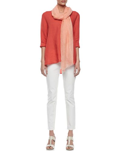 Eileen Fisher Organic Linen Long-Sleeve Tunic, Tinted Sparkle Scarf & Organic Skinny Ankle Jeans, Petite