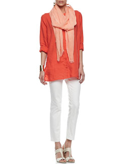 Eileen Fisher Organic Linen Long-Sleeve Tunic, Tinted Sparkle Scarf & Skinny Ankle Jeans, Women's