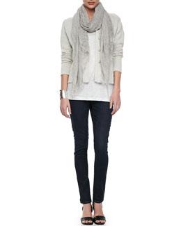 Eileen Fisher Metallic Zipper-Cuff Jacket, Organic Linen Jersey Shimmer Tank, Tinted Sparkle Scarf & Soft Stretch Skinny Jeans
