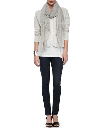 Eileen Fisher Metallic Zipper-Cuff Jacket, Organic Linen Jersey Shimmer Tank, Tinted Sparkle Scarf & Soft Stretch Skinny Jeans