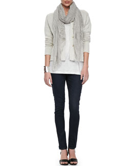 Eileen Fisher Metallic Zipper-Cuff Jacket, Organic Linen Jersey Shimmer Tank, Tinted Sparkle Scarf & Soft Stretch Skinny Jeans, Petite