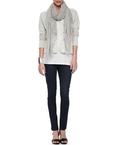 Eileen Fisher Metallic Zipper-Cuff Jacket, Organic Linen Jersey Shimmer Tank, Tinted Sparkle Scarf & Soft Stretch Skinny Jeans, Women's