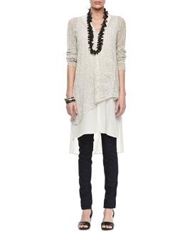 Eileen Fisher Linen Mesh V-Neck Tunic, Silk V-Neck Long Dress & Stretchy Jean Leggings