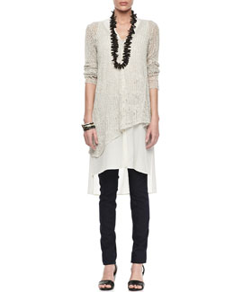 Eileen Fisher Linen Mesh V-Neck Tunic & Stretchy Jean Leggings, Petite