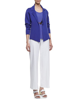 Eileen Fisher Interlock One-Button Jacket, Stretch Silk Jersey Tank & Wide-Leg Stretch Crepe Pants, Women's