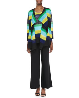 Caroline Rose Striped Draped Knit Jacket, Contrast-Colored Striped Knit Tank & Wide-Leg Jersey Pants, Petite