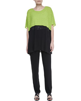 Caroline Rose Colorblock Short-Sleeve Caftan & Stretch-Knit Slim Pants