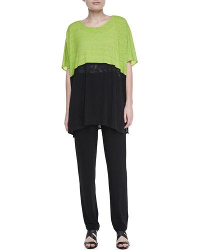 Caroline Rose Colorblock Short-Sleeve Caftan & Stretch-Knit Slim Pants