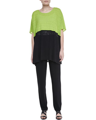 Colorblock Short-Sleeve Caftan & Stretch-Knit Slim Pants