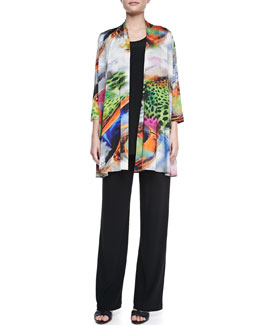 Caroline Rose Butterfly-Print Knit Cardigan, Long Knit Tunic/Tank & Stretch-Knit Slim Pants