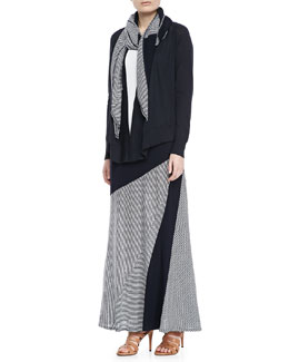 Isda & Co Open-Front Cotton Cardigan, Jersey Tank,  Jersey Scarf & Striped A-line Maxi Skirt