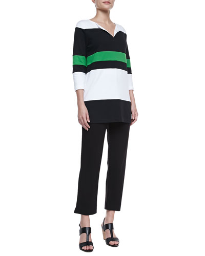 Joan Vass Bold Striped Easy Tunic & Slim Ponte Ankle Pants, Petite