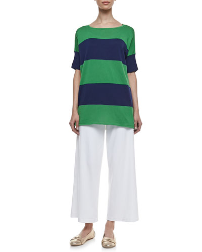 Joan Vass Striped Boxy Sweater & Cotton Interlock Wide-Leg Pants, Petite