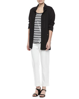 Joan Vass Long Jersey Jogging Jacket, Sequined Striped Short-Sleeve Tee & Slim Ponte Ankle Pants