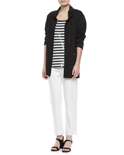 Joan Vass Long Jersey Jogging Jacket, Sequined Striped Short-Sleeve Tee & Slim Ponte Ankle Pants, Petite