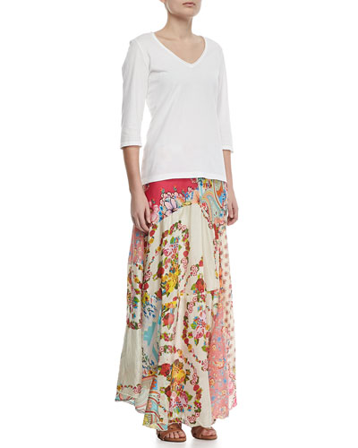 JWLA for Johnny Was 3/4-Sleeve V-Neck Tee & Georgette Mixed Floral-Print Maxi Skirt