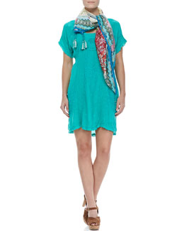Johnny Was Collection Victorian Pintucked Georgette Dress & Kia Printed Silk Scarf, Women's
