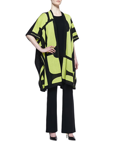 Misook Rosalie 3/4-Sleeve Colorblock Cardigan, Sleeveless Tank & Boot-Cut Knit Pants, Petite