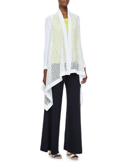 Misook Adeline Long Cascading Cardigan, Amy U-Neck Tank & Palazzo Pants, Women's