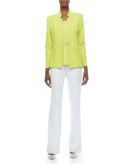 Misook Maribel Ottoman Ribbed Jacket, Amy U-Neck Tank & Boot-Cut Knit Pants, Petite