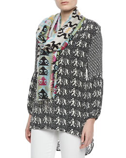 Tolani Monisha Print Long Tunic & Tribal-Print Silk Scarf, Women's