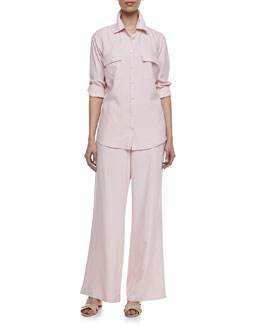 Go Silk Long-Sleeve Silk Safari Shirt & Wide-Leg Silk Pants, Petite