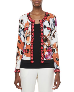 Michael Simon Printed Cardigan with Beading & Scoop-Neck Shell, Petite