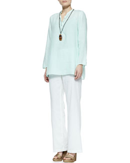 Eileen Fisher Organic Linen Long-Sleeve Tunic & Linen-Blend Straight-Leg Trousers, Petite