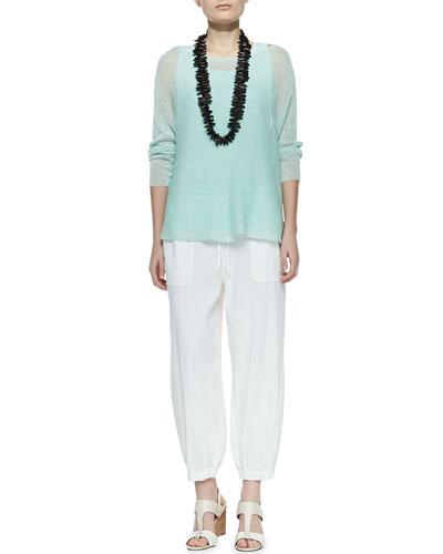 Eileen Fisher Linen Knit Box Top, Jersey Tank & Drawstring-Waist Slouchy Capri Pants