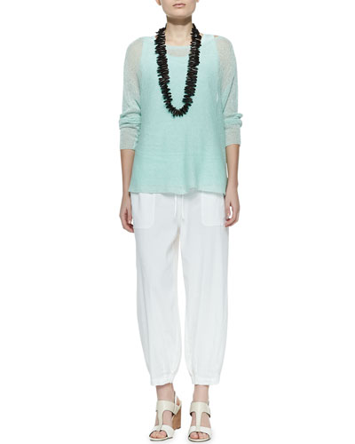 Eileen Fisher Linen Knit Box Top, Jersey Tank & Drawstring-Waist Slouchy Capri Pants, Petite