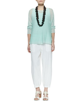 Eileen Fisher Linen Knit Box Top, Jersey Tank & Drawstring-Waist Slouchy Capri Pants, Women's