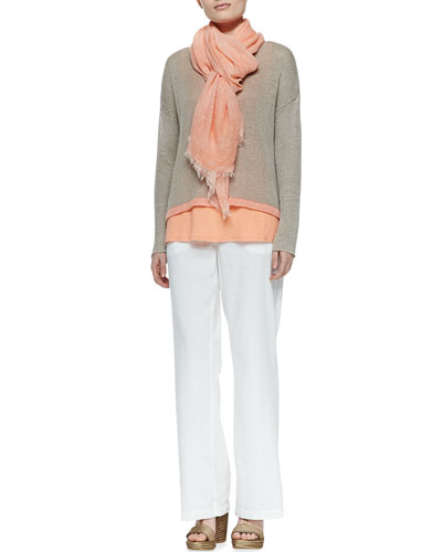 Eileen Fisher Linen Colorblock Box Top, Organic Linen Tank, Tinted Sparkle Scarf & Straight-Leg Trousers