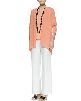 Eileen Fisher Melange Linen-Blend Cardigan, Silk Jersey Tank & Modern Wide-Leg Pants, Petite