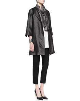 Eileen Fisher High-Collar Textured Jacket, Silk Tunic/Tank, Crepe Ankle Pants & Mesh-Print Whisper Silk Scarf, Petite