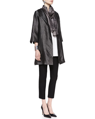 Eileen Fisher High-Collar Textured Jacket, Silk Tunic/Tank, Crepe Ankle Pants & Mesh-Print Whisper Silk Scarf, Women's