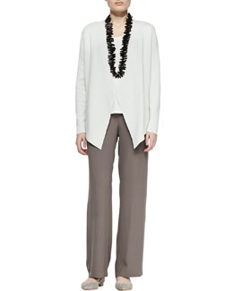 Eileen Fisher Silk-Cotton Interlock Jacket, Jersey Tank & Silk Georgette Crepe Pants