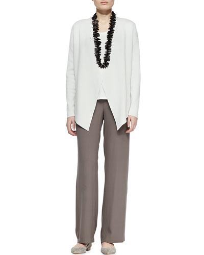 Eileen Fisher Silk-Cotton Interlock Jacket, Jersey Tank & Silk Georgette Crepe Pants