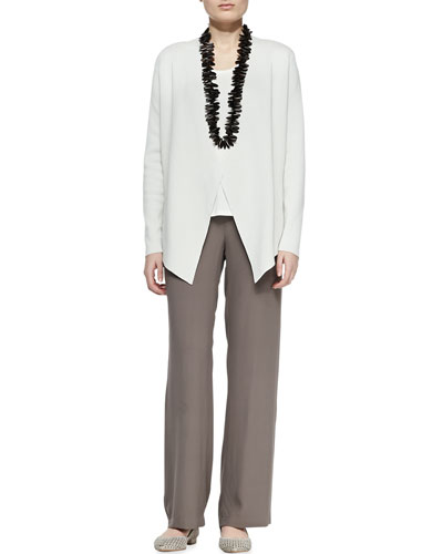 Eileen Fisher Silk-Cotton Interlock Jacket, Jersey Tank & Silk Georgette Crepe Pants, Petite