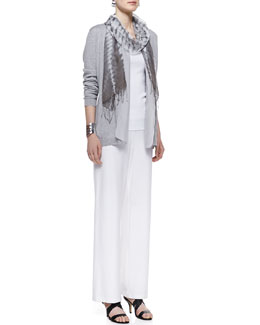 Eileen Fisher Sleek Cotton Silk-Trim Cardigan, Long Slim Tank, Jacquard Scarf & Modern Wide-Leg Pants, Women's
