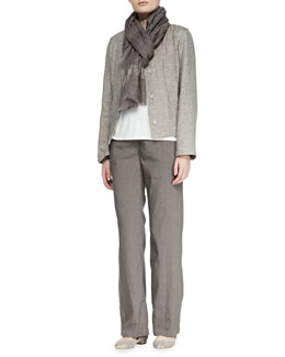 Eileen Fisher Basketweave 3-Button Jacket, Silk Jersey Tank, Linen-Blend Trousers & Shimmery Striped Scarf, Petite