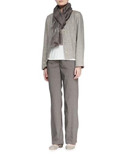Eileen Fisher Basketweave 3-Button Jacket, Silk Jersey Tank, Linen-Blend Trousers & Shimmery Striped Scarf, Petite