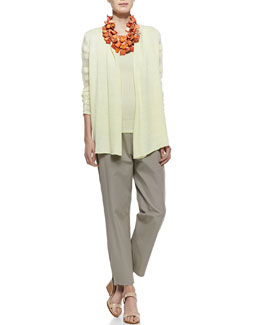 Eileen Fisher Linen Jersey Shadow Striped Cardigan, Slim Tank & Organic Stretch Twill Slim Ankle Pants, Petite