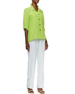 Caroline Rose Crepe Golden-Button High-Low Shirt & Shantung Straight-Leg Pants, Petite