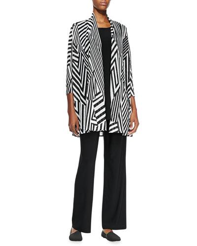Caroline Rose Divided Lines Long Cardigan, Long Knit Tunic/Tank & Straight-Leg Knit Pants