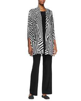 Caroline Rose Divided Lines Long Cardigan, Long Knit Tunic/Tank & Straight-Leg Knit Pants, Women's