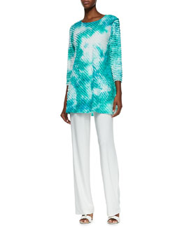 Caroline Rose Tie-Dye Ruffle Tunic & Straight-Leg Knit Pants, Women's