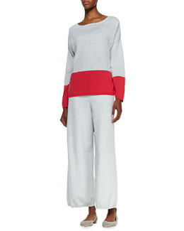 Joan Vass Long-Sleeve Colorblocked Cotton Top & Wide-Leg Knit Pants, Petite