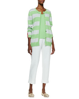 Joan Vass Striped Button-Front Cardigan, Scoop-Neck Cotton Tank & Slim Ponte Ankle Pants