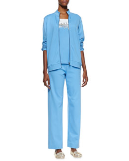 Joan Vass Interlock Zip Jacket, Beaded Jersey Shell & Interlock Stretch Pants, Petite